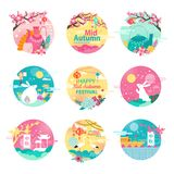 Happy Mid Autumn Festival  Round Emblems. Happy mid autumn festival emblems with sakura blossom, fluffy bunnies, graceful stork, teapots with ornament and small Royalty Free Stock Photo