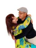 Happy middle age couple joking around. Stock Photo