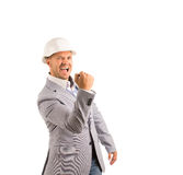 Happy Middle Age Male Engineer on Gray Coat Stock Images