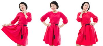 Happy middle age woman collage in fashion red dress with make up isolated on white background. Copy space royalty free stock photography