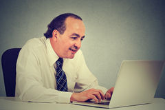 Happy middle aged businessman working with laptop in office Stock Images