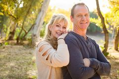 Attractive Middle Aged Caucasian Couple Portrait Outdoors. Beautiful Happy Middle Aged Caucasian Couple Portrait Outdoors stock image