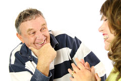 Happy Middle Aged Couple. Chatting and enjoying quality time together Royalty Free Stock Photography