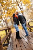 Happy middle-aged couple on autumn day Stock Photo