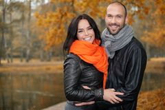 Happy middle-aged couple on autumn day Royalty Free Stock Images