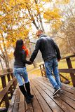Happy middle-aged couple on autumn day Stock Images