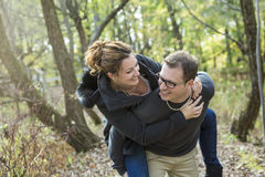 Happy middle aged couple outdoors on beautiful Stock Image