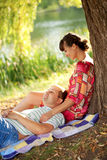 Happy middle-aged couple relaxing royalty free stock photo