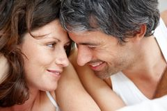 Happy middle aged couple in romantic mood Stock Photos