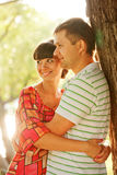 Happy middle-aged couple  in the sunlight Stock Photos