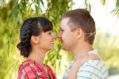 Happy middle-aged couple in the sunlight at sunset Royalty Free Stock Photos