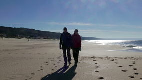 Happy Middle-aged Couple Walking on Beach stock video footage