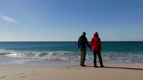 Happy Middle-aged Couple Walking on Beach stock footage