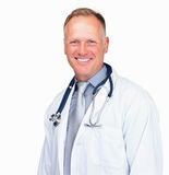 Happy middle aged doctor smiling over white Royalty Free Stock Image
