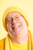Happy man portrait real people high definition yellow background Royalty Free Stock Photography