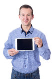 Happy middle aged man showing tablet pc with blank screen isolat Stock Photo