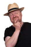 Happy middle aged man in straw hat Royalty Free Stock Photo