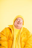 Funny man portrait real people high definition yellow background Royalty Free Stock Photography