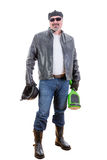 Happy middle aged rebelious man with hoverboard Royalty Free Stock Photography