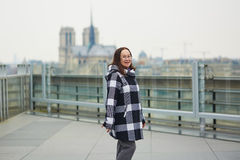 Happy middle aged tourist in Paris Royalty Free Stock Photography