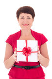 Happy middle aged woman with gift Stock Image