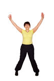 Happy middle-aged woman jumping and waving her arms Stock Images
