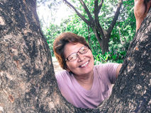 Happy middle aged woman peeking in the tree Royalty Free Stock Photo