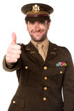 Happy military man gesturing thumbs up Stock Photography