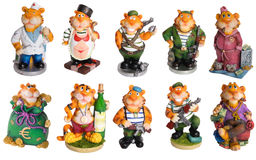Happy military tiger decor souvenir. Funny happy military tiger decoration souvenir toys ceramics isolated royalty free stock images