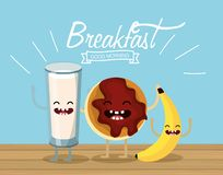 Happy milk glass with cookie and banana. Vector illustration vector illustration