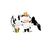 Happy Milkman with a jug of milk Stock Images