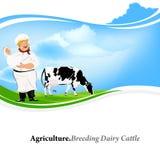 Happy Milkman with a jug of milk Stock Image