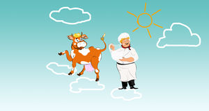 Happy milkman with smiling cow. On clouds Stock Image