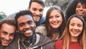Free Happy Millennial Friends From Diverse Cultures And Races Having Fun In Front Of Smartphone Camera - Youth And Friendship Concept Royalty Free Stock Photography - 195167537