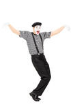 Happy mime artist dancing Royalty Free Stock Photography