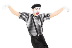 Happy mime artist dancing Stock Images