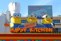 HAPPY MINION KITCHEN. OSAKA, JAPAN - Apr 21, 2017 : Photo of `HAPPY MINION KITCHEN` shop, selling Minion Chinese buns, located in Universal Studios, Osaka, Japan royalty free stock photo