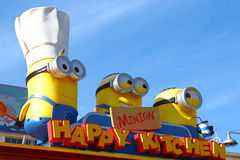 HAPPY MINION KITCHEN. OSAKA, JAPAN - JAN 07, 2017 : Photo of `HAPPY MINION KITCHEN` shop, selling Minion Chinese buns, located in Universal Studios, Osaka, Japan stock photos