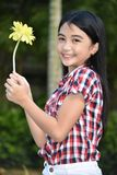 Happy Minority Person With Flower. An attractive and asian person royalty free stock images