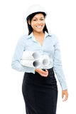 Happy mixed race business woman architect holding blue print iso Royalty Free Stock Photography