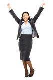 Happy mixed race business woman celebrating isolated on white ba Stock Photos