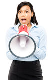 Happy mixed race business woman holding megaphone isolated on wh Stock Photos