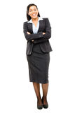 Happy mixed race business woman isolated on white background Stock Photo