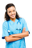 Happy mixed race doctor smiling arms folded isolated on white ba Stock Photos
