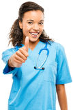 Happy mixed race doctor smiling arms folded isolated on white stock photo