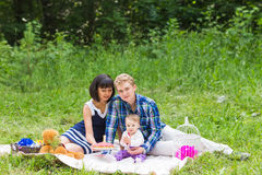 Happy Mixed Race Family Having a Picnic and Playing In The Park Royalty Free Stock Photography