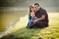 Happy Mixed Race Family Posing for A Portrait stock photography