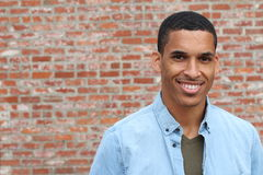 Happy Mixed Race Male Smiling Portrait with Copy Space.  Royalty Free Stock Images