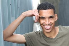 Happy Mixed Race Male Smiling Portrait with Copy Space.  Stock Images