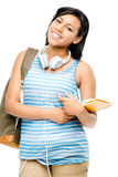 Happy mixed race student back to school isolated on white backgr Royalty Free Stock Photography